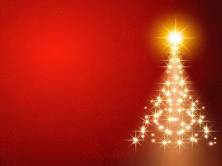 Christmas background with Shining Christmas tree, vector illustration.Red background