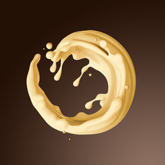 Wall Mural - 3d render, food and drink illustration, abstract creamy butter s