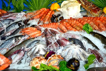 Fresh fish and seafood displayed outside a restaurant, Rethymno, Crete, Greece.