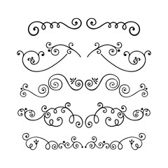 Set of swirl hand drawn text dividers vector. Decorative line border isolated on white background. Unique dividers.