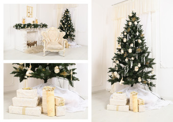 decorated chrismas room with a tree and presents