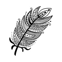 Hand drawn zentangle feather