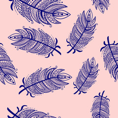 Ethnic feathers zentangle Seamless Pattern