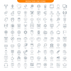 One Hundred Thin Line Icons Set Of Social Media And Internet. 100 Linear style icons. Web Elements Collection