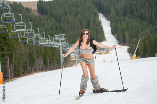 naked woman in ski lift