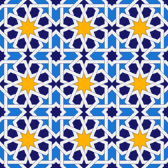Islamic geometric ornaments based on traditional arabic art. Oriental seamless pattern. Muslim mosaic. Colorful vector illustration. Blue and yellow arabian tile. Mosque decoration element.