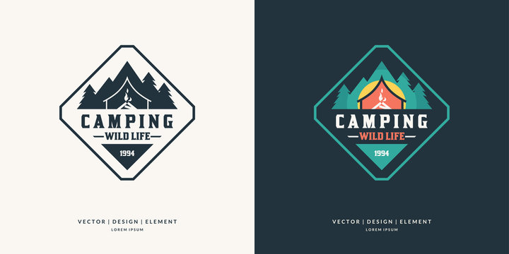 Camping and outdoor adventure retro logo.