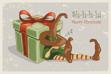 Retro christmas illustration with sleeping elf, huge gift box and Merry Christmas text. Vector illustration.