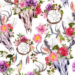 Deer skulls, flowers, dream catchers - dreamcatcher. Seamless pattern. Watercolor