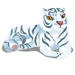 Vector striped white Bengal tiger in cartoon style
