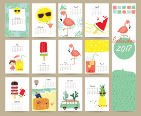 Colorful cute monthly calendar 2017 with Flamingo,ice cream,pine