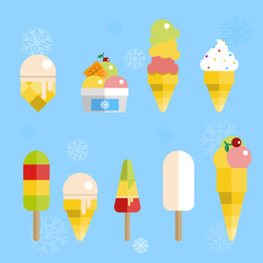 Set of tasty ice cream for your design. Vector flat illustration