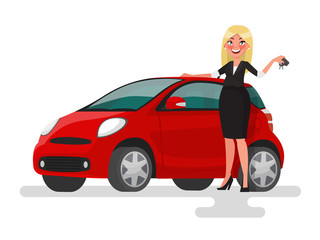 Buying or selling a car. Blonde woman holding the keys near the