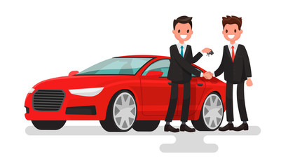 Car showroom. Purchase sale or rental car. Seller man hands over