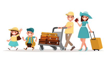 Family travel. Parents and children at the airport fly away for