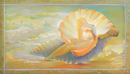 Princess of Seashell. Portrait of beautiful girl dreaming fantasy environment. Oil painting on wood.