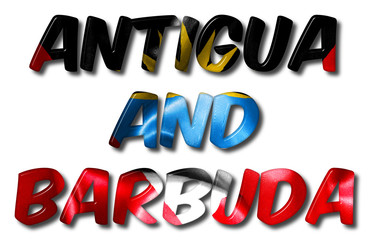 Antigua and Barbuda Word With Flag Texture