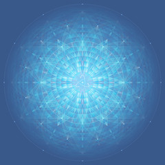 complex blue geometric mandala, sacred geometry, flower of life and atom, use gradient, blending modes and transparency, vector