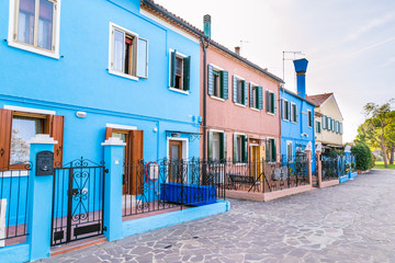 Very beautiful multi-colored houses on  the island Burano, Venic