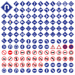 traffic sign  red blue road sign set vector Illustration on whit