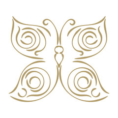 Linear curly gold hand drawn butterfly isolated on white background. Sketch butterfly icon. Vector illustration.