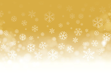 Vector of Christmas snowflakes on gold background for winter season.