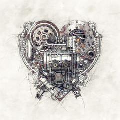 Sketch of a technical-mechanical heart, 3D Illustration