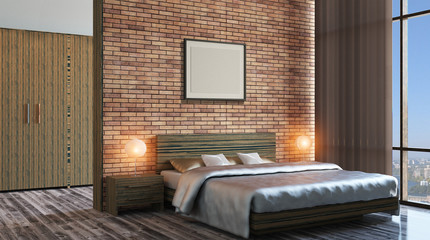 The modern design of the bedrooms. 3d rendering