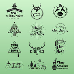 Set of Merry Christmas and Happy New Year Logo Icon. Christmas Logo Kit For Your Design Such as Greeting Card, Invitation, Sticker and Emblem. Vector illustration
