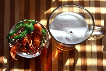 Cooked freshwater crayfish with beer