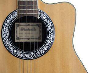 Acoustic Guitar partial on isolated background.