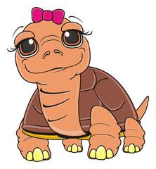 stand, pink, bow, girl, animal, pet, cartoon, brown, tortoise, slow, armor, amphibian, illustration, zoo, wild, reptile, symbol, 23 May, comic, toy, turtle