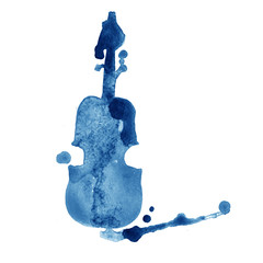 watercolor hand drawn violin with splash on white background