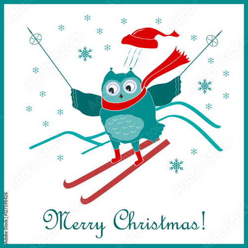 funny cute skiing owl new year and christmas card