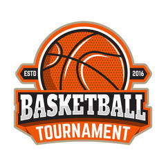 Basketball tournament. Emblem template with basketball ball. Design element for logo, label, sign. Vector illustration.