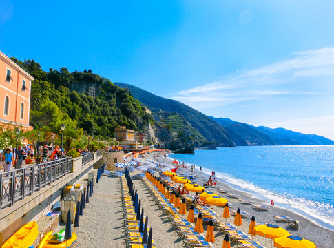 Monterosso, Italy - People at the beach
