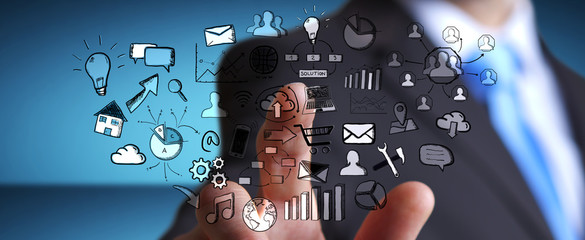 Businessman touching hand drawn web icons
