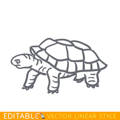 Turtle icon. Editable outline sketch. Stock vector illustration.