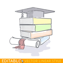 Graduation cap on a stack of book, and scroll, tied with red ribbon. Editable outline sketch. Stock vector illustration.