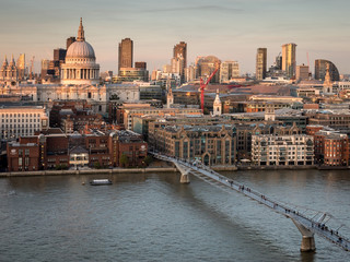 St. Paul's Cathedral and the River Thames at dusk