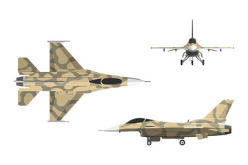 War plane in flat style. Military aircraft in top, side, front v