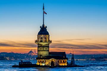 sundown views to istanbul lighthouse and skyline, turkey