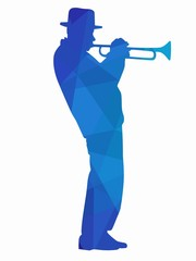 silhouette of a trumpet player. vector drawing