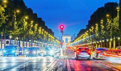 Paris, Champs Elysees. Night scene. France.
