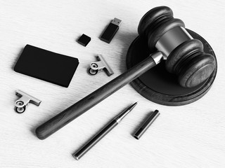 Black and white. Judge's gavel. 3D illustration