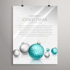 christmas balls on glossy surface flyer design