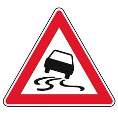 Schild Achtung Auto Rutschgefahr