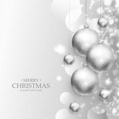 beautiful christmas balls decoration silver background