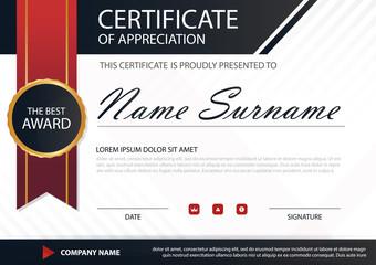 Red black Elegance horizontal certificate with Vector illustrati