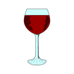 Glass of red wine, color sketch, isolated on white background. Hand drawn illustration.